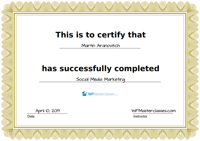 Video Course Certificate