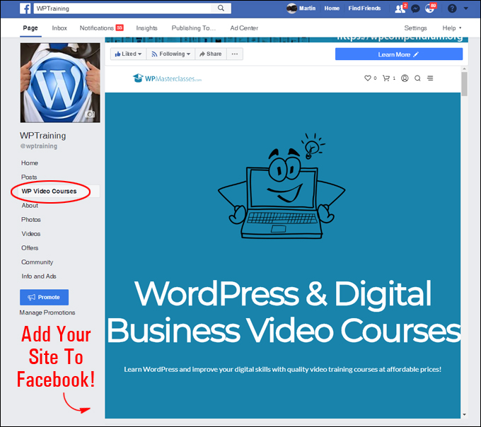 Add Your WordPress Site To Facebook